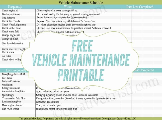 Auto Repair Checklist Template Luxury Free Routine Car Maintenance Printable Excellent to Add