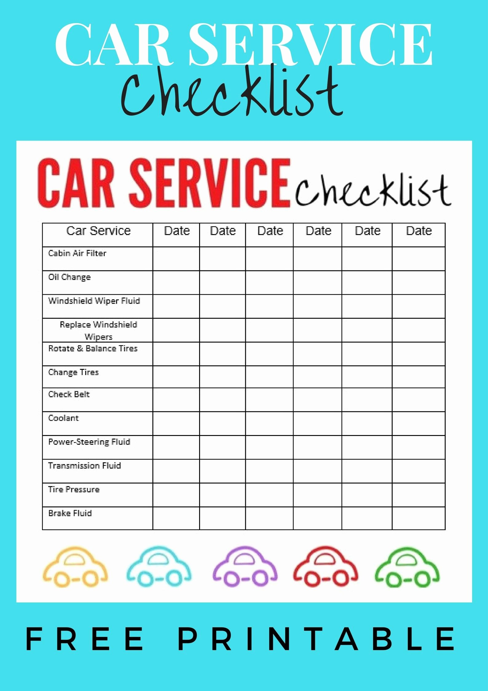 Auto Repair Checklist Template New Car Service Checklist