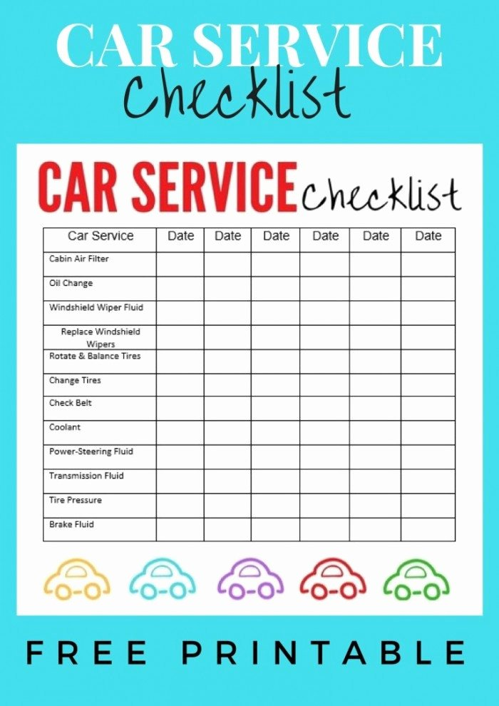 Auto Repair Checklist Template Unique Car Service Checklist Printable