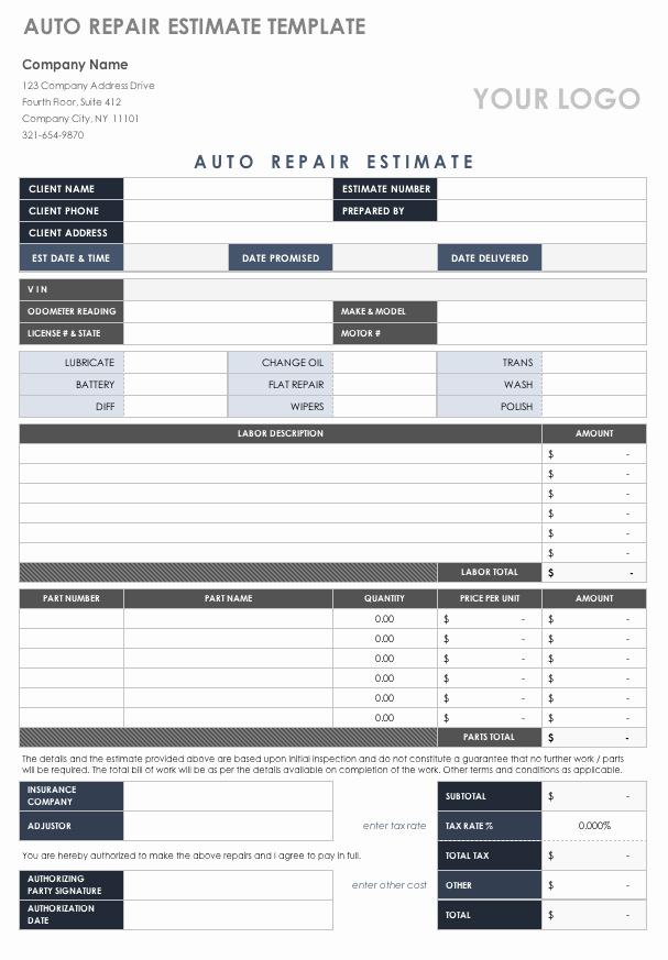 Auto Repair Estimate Template Awesome Free Estimate Templates