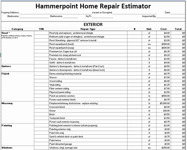 Auto Repair Estimate Template Excel Elegant 12 Free Sample Home Repair Estimate Templates Printable