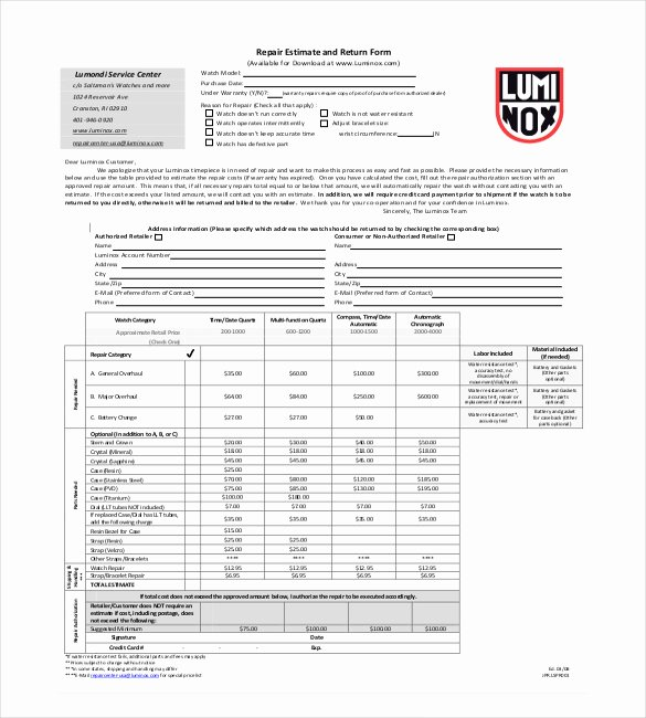 Auto Repair Estimate Template Excel Fresh Auto Repair Estimate form Pdf