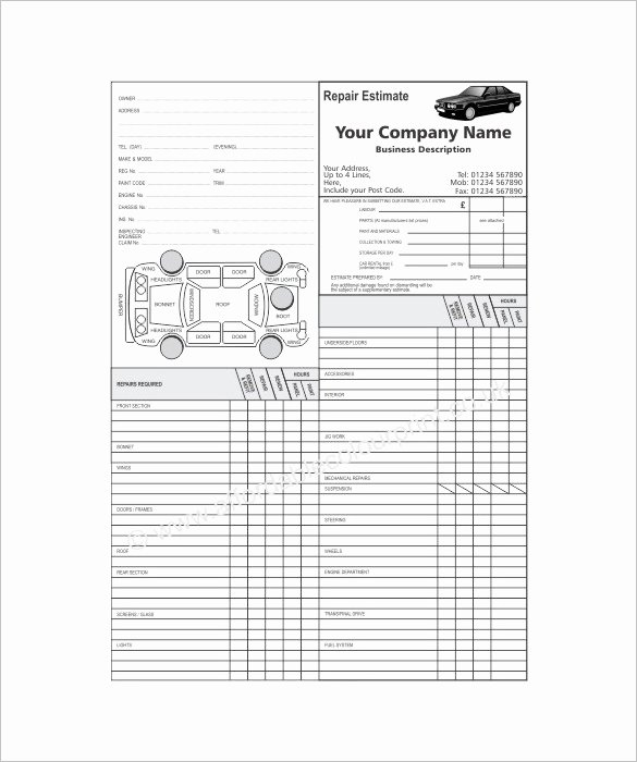Auto Repair Estimate Template Excel Luxury 20 Repair Estimate Templates Word Excel Pdf