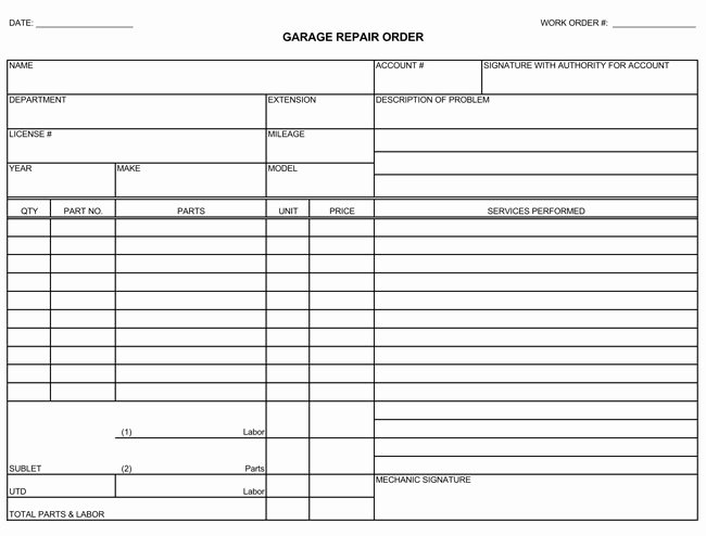Auto Repair Estimate Template Excel New Auto Repair Invoice Templates 10 Printable and Fillable