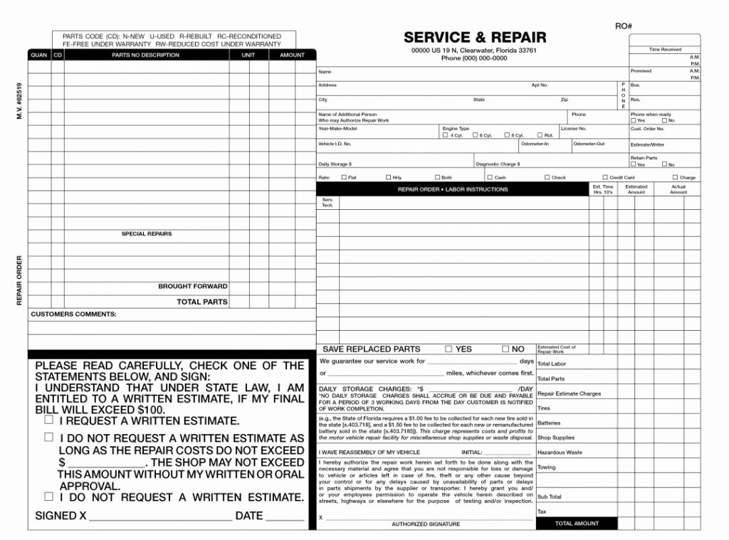 Auto Repair Estimate Template Excel New Auto Repair order Template Excel Car Invoice Estimate