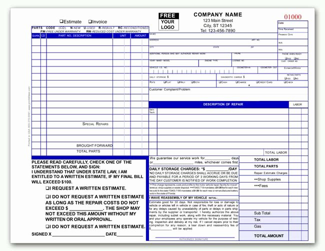 Auto Repair Estimate Template Excel Unique Automotive Transmission Repair Invoice form