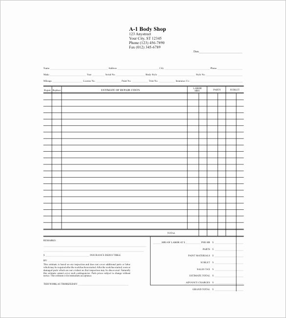 Auto Repair Estimate Template Free Awesome Free Printable Auto Body Repair Estimate forms Cover