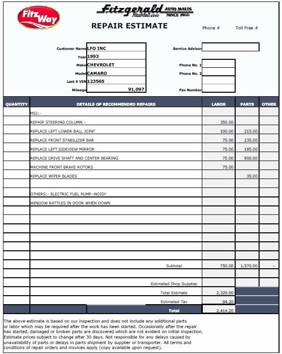Auto Repair Estimate Template Free Best Of 13 Free Sample Auto Repair Estimate Templates Printable