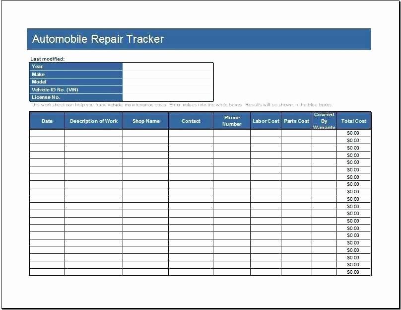 Auto Repair form Template Beautiful Template Motorcycle Auto Repair order form Ez234