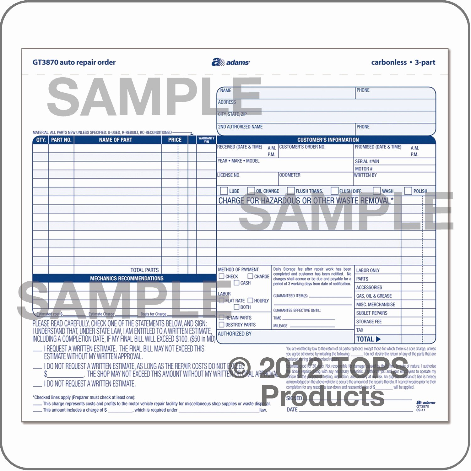 Auto Repair form Template New wholesale Auto Repair order Abfgt3870 Discount Price