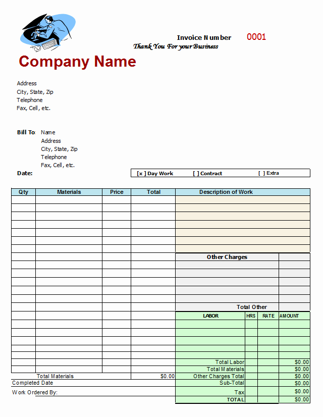 Auto Repair Invoice Template Awesome Mechanics Invoice