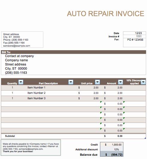 Auto Repair Invoice Template Elegant Auto Repair Invoice Template Word