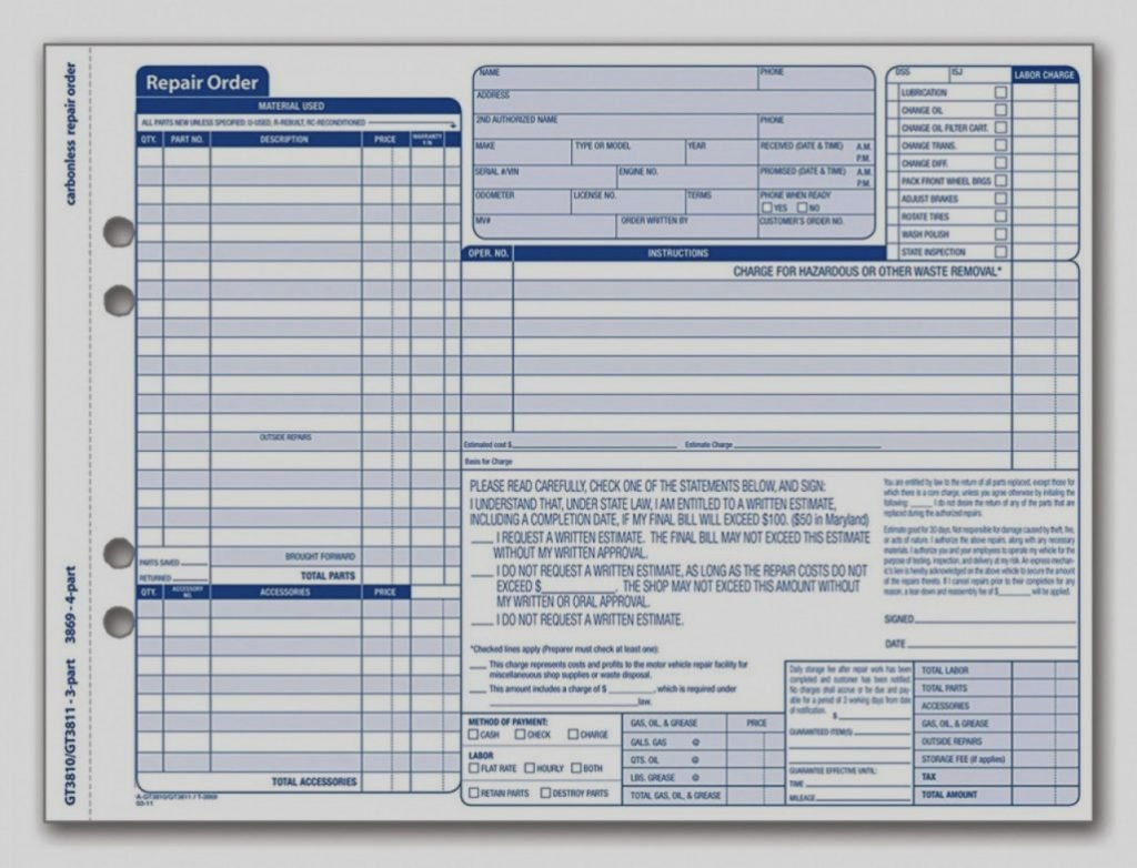 Auto Repair Invoice Template Excel Beautiful Auto Repair Bill Template Invoice