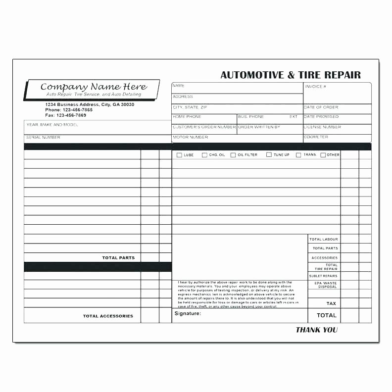 Auto Repair Invoice Template Excel Beautiful Best Due Upon Receipt Beautiful Tree Service Invoice