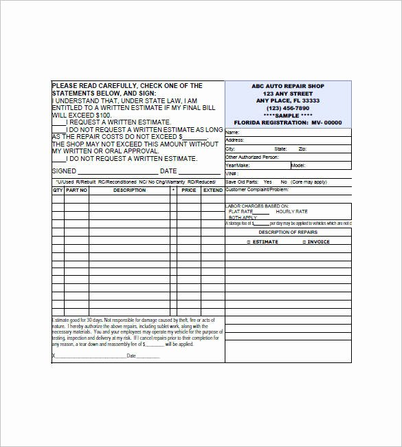 Auto Repair Invoice Template Excel Elegant 20 Small Business Invoice Templates – Pdf Word Excel