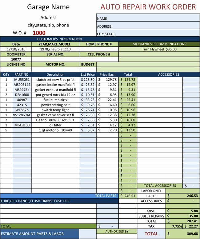 Auto Repair Invoice Template Excel Elegant Auto Repair Invoice Templates 10 Printable and Fillable