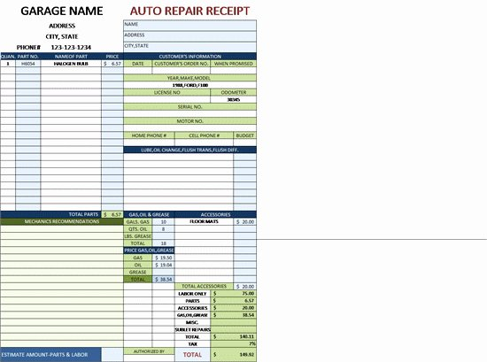 Auto Repair Invoice Template Excel Elegant Car Repair Invoice Template and Auto Repair Invoice