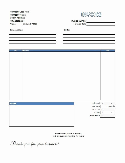 Auto Repair Invoice Template Excel Elegant Excel Service Invoice Template Free Download