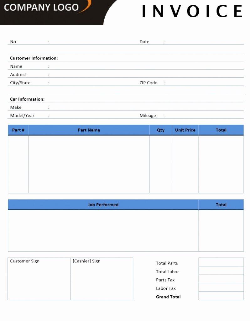 Auto Repair Invoice Template Excel Elegant Invoice Templates