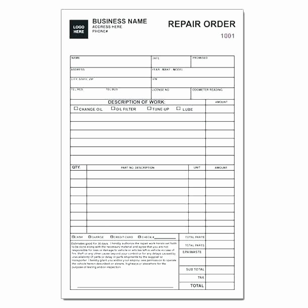 Auto Repair Invoice Template Excel Fresh Auto Mechanic Work order Template – Ipcco