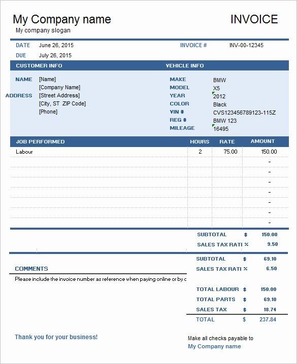 Auto Repair Invoice Template Excel Luxury 60 Microsoft Invoice Templates Pdf Doc Excel