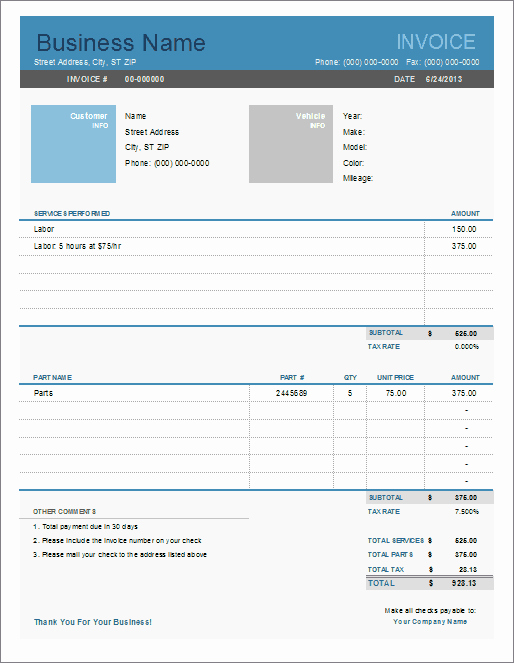 Auto Repair Invoice Template Excel Luxury Auto Repair Invoice Template for Excel