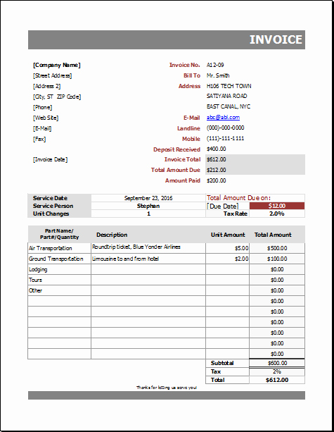 Auto Repair Invoice Template Lovely Auto Repair Billing Invoice for Excel
