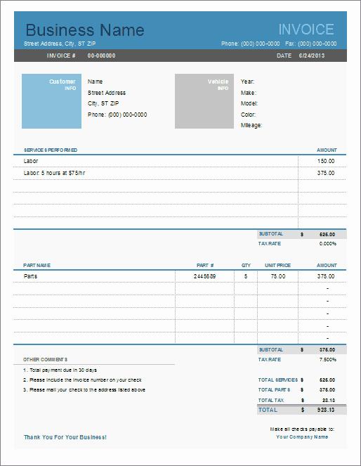 Auto Repair Invoice Template Luxury Auto Repair Invoice Template for Excel