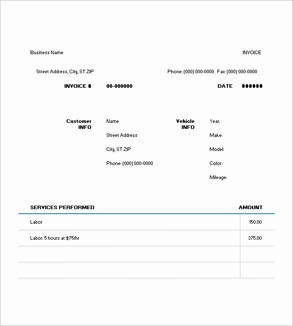 Auto Repair Invoice Template Pdf Lovely 6 Auto Repair Invoice Templates Doc Pdf