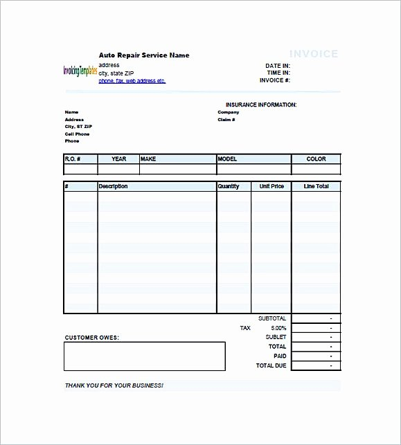 Auto Repair Invoice Template Pdf Lovely Auto Repair Invoice Template