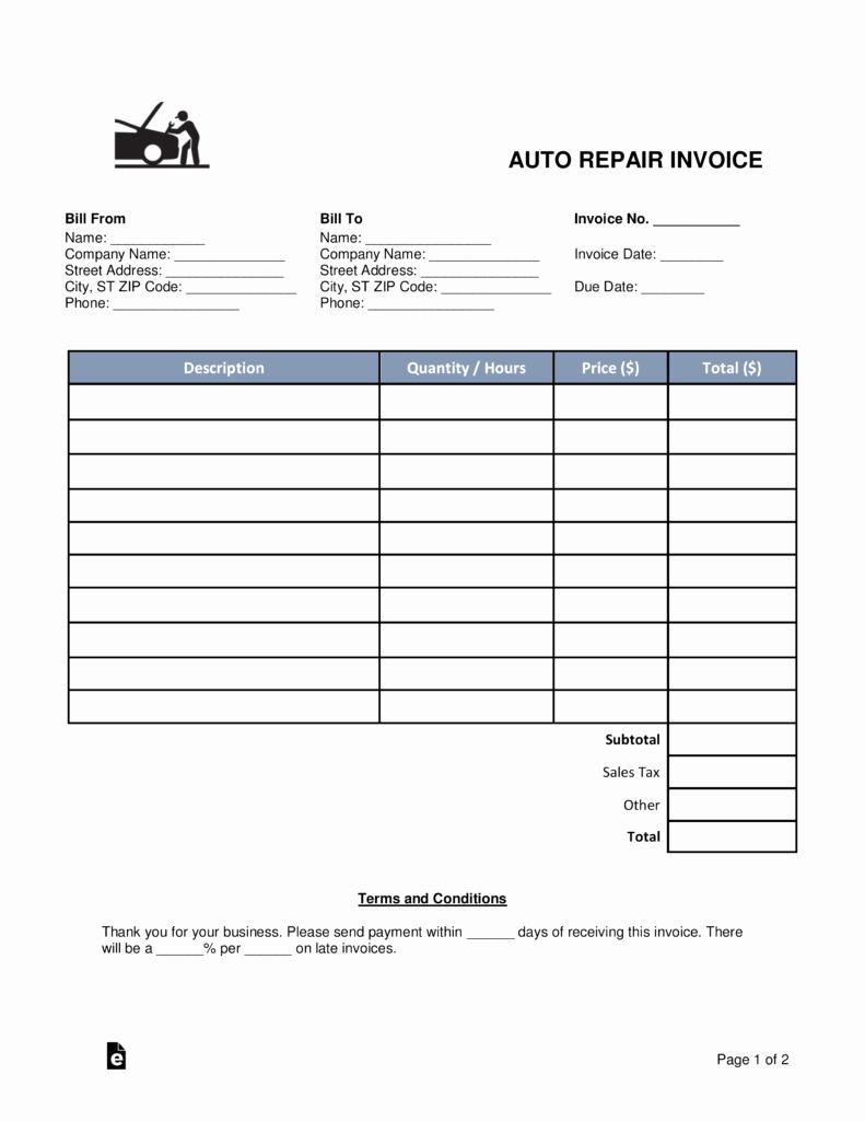 Auto Repair Invoice Template Pdf Luxury Free Auto Body Mechanic Invoice Template Word
