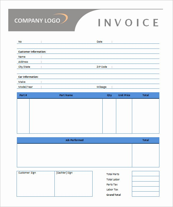 Auto Repair Invoice Template Word Unique Microsoft Invoice Template 54 Free Word Excel Pdf