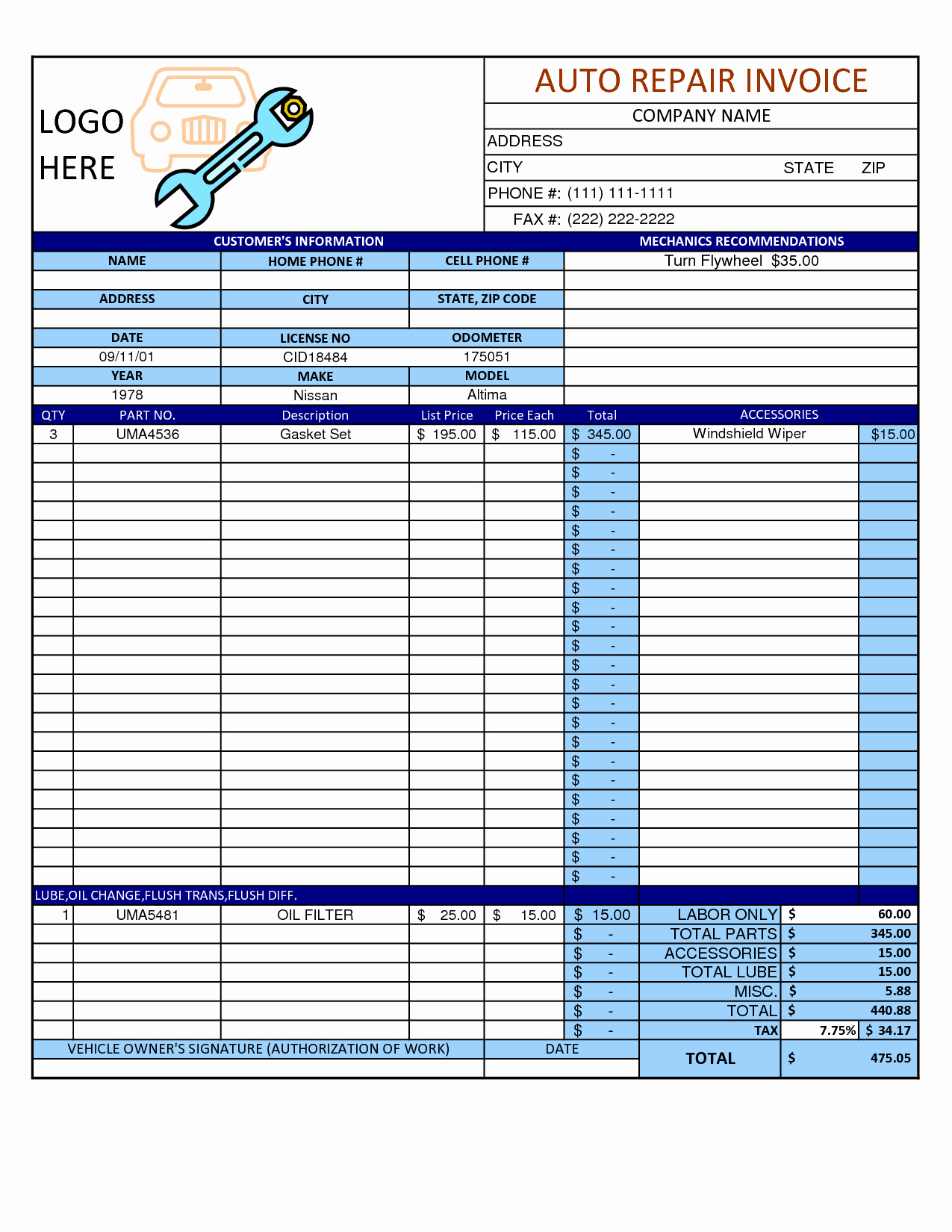 Auto Repair order Template Awesome Mechanic Shop Invoice