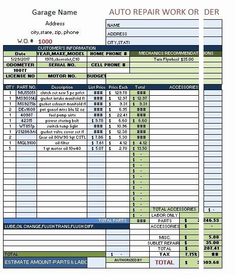 Auto Repair order Template Elegant 9 Free Sample Auto Repair Quotation Templates Printable