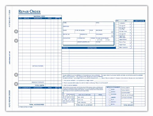 Auto Repair order Template Excel Awesome tops Auto Garage Repair order forms 4 Part Carbonless 8