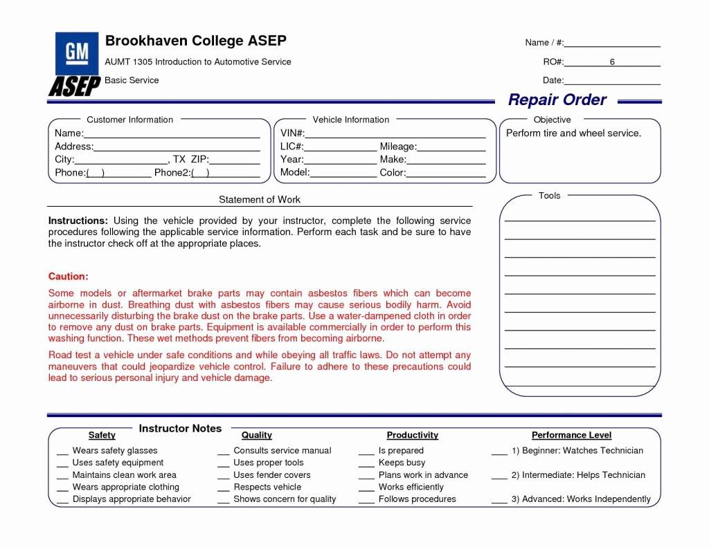 Auto Repair order Template Excel Elegant Auto Repair order Template Excel Car Invoice Estimate