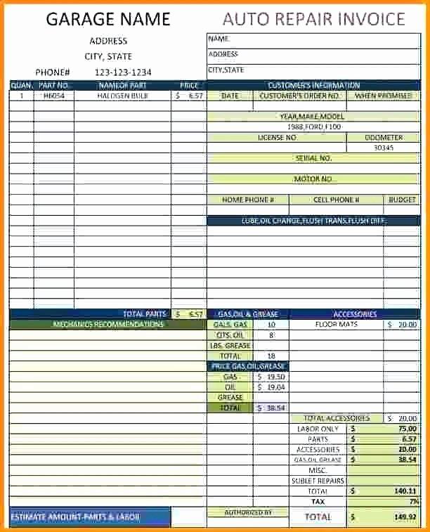 Auto Repair order Template Excel Fresh 53 Auto Repair Invoice Template Excel
