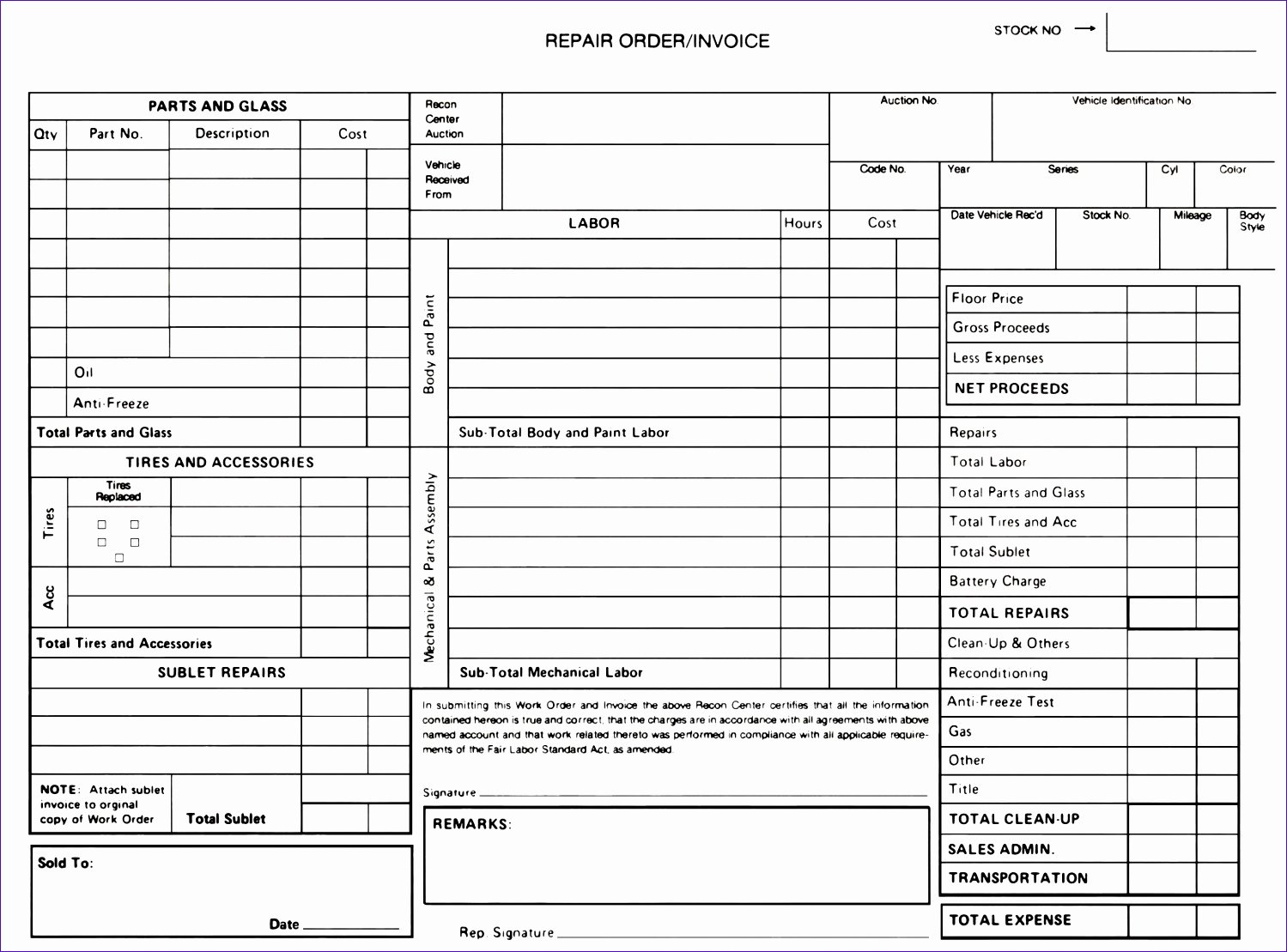 Auto Repair order Template Excel Fresh 6 Auto Repair order Template Excel Exceltemplates