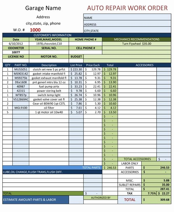 Auto Repair order Template Excel Fresh Auto Repair Work order Template