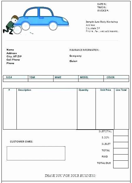 Auto Repair order Template Excel Luxury Auto Repair Invoice Templates Work order Template Excel