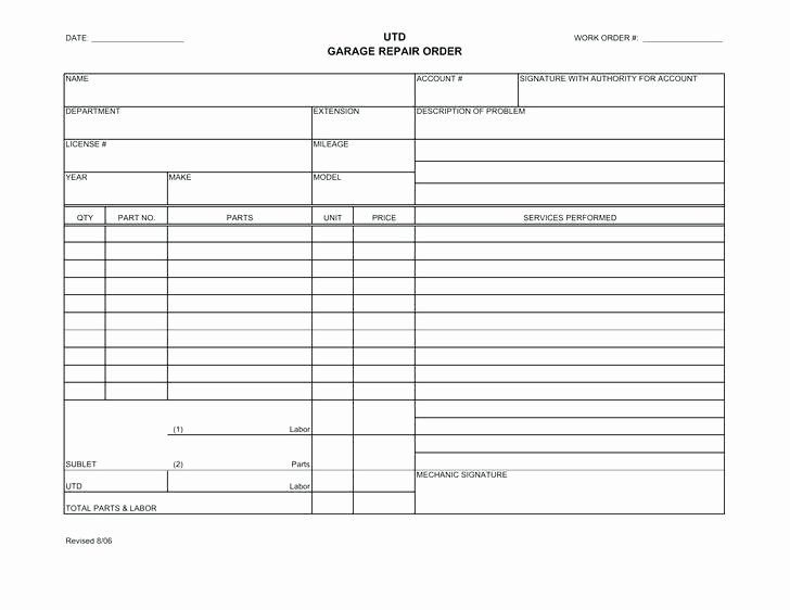 Auto Repair order Template Excel New Download Work order Template for Free Auto Repair Work