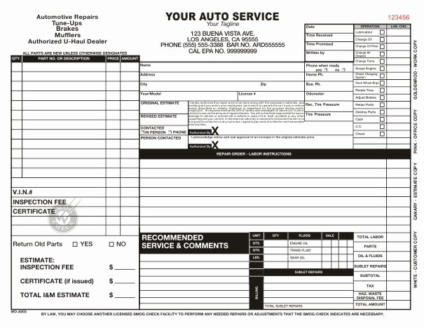 Auto Repair order Template Free Lovely Automotive Work order Template