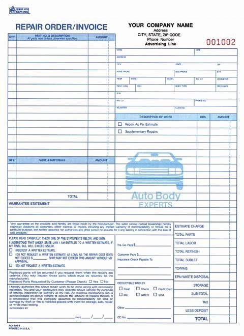 Auto Repair order Template Free Luxury 4 Part Auto Body Repair order Invoice Carbonless