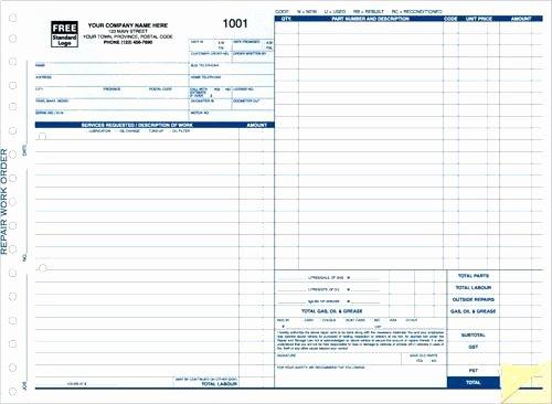 Auto Repair order Template Free Unique Blank Auto Repair Invoice Automotive Work order Template