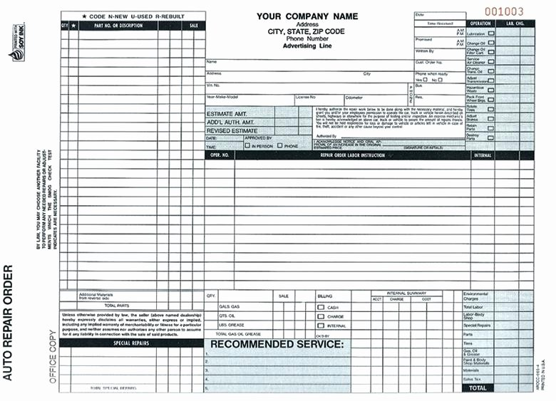 Auto Repair order Template Fresh Inspirational Auto Repair Invoice forms Pics Free
