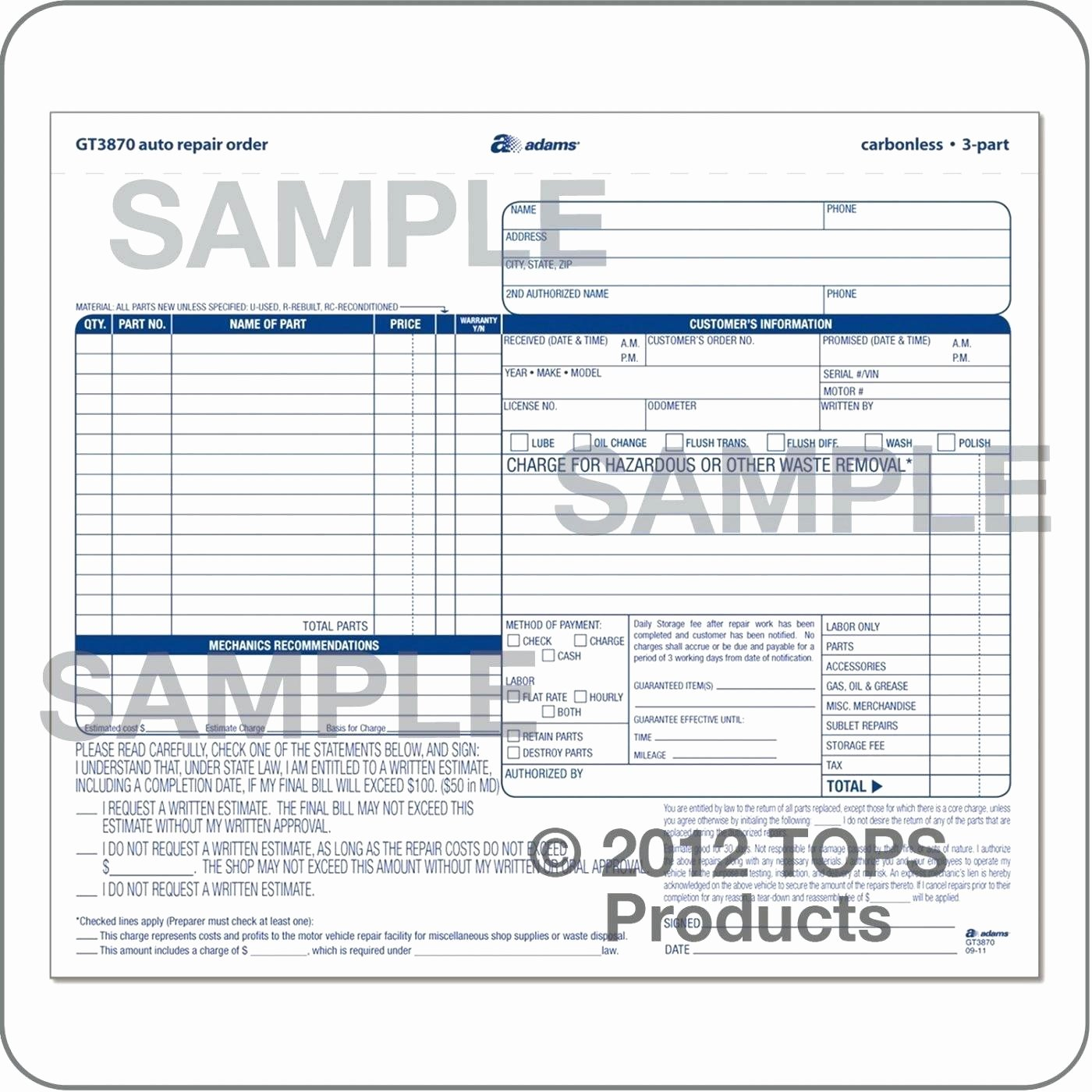 Auto Repair order Template Fresh Work order Template for Quickbooks