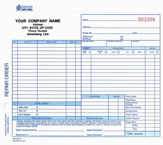 Auto Repair order Template Lovely Printable Work order forms