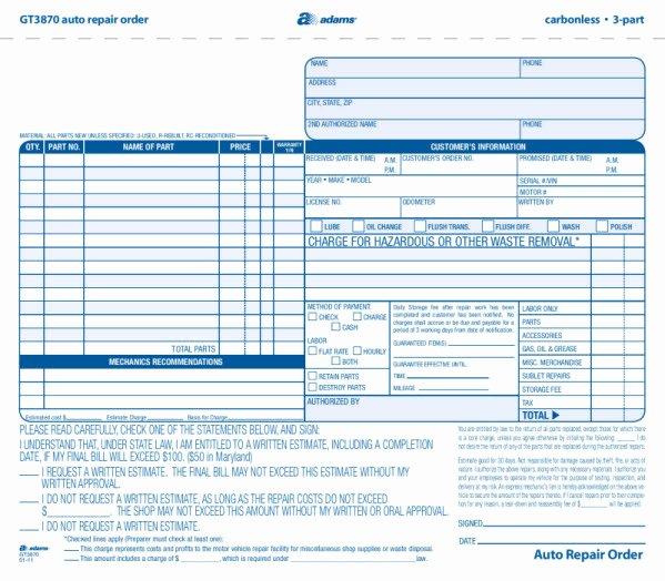 Auto Repair order Template Luxury Gt3870 New Style Garage Repair orders 3 Part