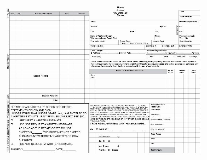 Auto Repair order Template Unique Abps Business Froms Automotive Repair order Template