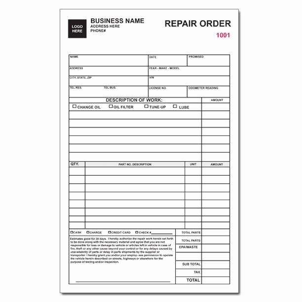 Auto Repair order Template Unique Auto Repair Invoice Work orders Custom Carbonless